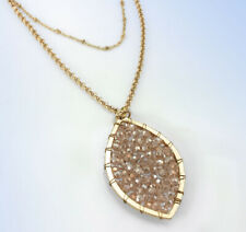 PANACEA Crystal Beaded Marquise Pendant Layered Chain Gold-Tone Necklace