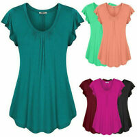 Womens Short Sleeve Tunic Dress Plus Size Casual T Shirt Dress Solid Short Dress