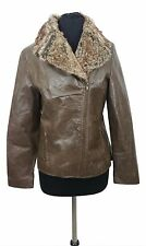 LEATHER COAT Size 10 Brown Faux Fur Collar Genuine Leather Outdoor Casual