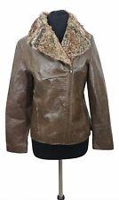 Vintage Veste en cuir taille 10 marron avec fourrure synthétique Ajustée Soirée Casual Everyday