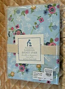 POTTERY BARN Kids SABRINA Basket Liner LARGE Baby Blue Floral Paisley Flower NOS