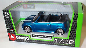 Mini Cooper S cabrio Metallic Blue 1:32 Scale Diecast  burago New in Box