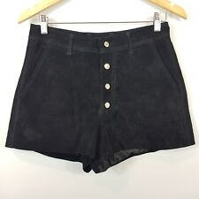 MNG | Womens Black Suede Leather Shorts [ Size AU 8 or US 6 ]