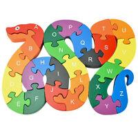26pcs Cute Snake English Alphabet Wooden Puzzle Jigsaw Kids Educational Toy P4PM