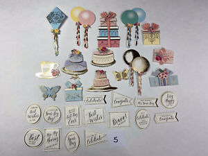 Lot Of 30 Anna Griffin 3D Birthday Embellishments & Sentiment Stickers