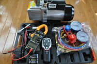 HVAC Professional Tools:Vacuum Pump+Manifold+Leak Detector+Clamp Meter+Car Kit