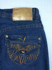 Apple Bottoms Signature Jeans Womens Stretch Rhinestone Embellished Denim Sz 3/4