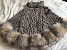 REAL FOX FUR KNITTED WOOLLEN CAPE PONCHO ONE SIZE FOX FUR SRING COLLECTION