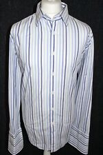 24:7 JEFF BANKS Mens White & Blue Striped Double Cuff Shirt Size 17.5 Brand New