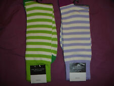BLOOMINGDALES 2 Pair MENS  STRIPED SOCKS GREEN LAVANDER NWT ITALY