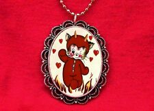 DEVIL KITTY CAT VINTAGE PENDANT NECKLACE GOTH KAWAII