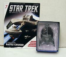 """#7 Star Trek  6"""" Die-Cast K'T'INGA-Class Battle Cruiser from UK/Eaglemoss w Mag"""