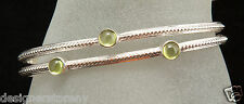 SLANE beaded split cuff bracelet with 3 peridot gemstones in sterling silver
