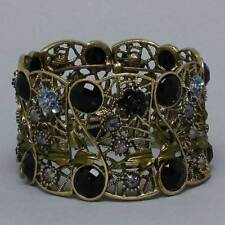 Floral Gold Cuff Bracelets with Crystal - Beautiful Bridal Jewelry