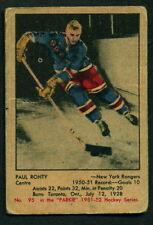 1951 52 PARKHURST HOCKEY #95 PAUL RONTY N Y RANGERS  VG-EX CARD