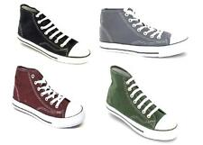 MENS SPOT ON HI-TOPS TRENDY BASEBALL CANVAS LACE UP CASUAL SHOES TRAINERS X0002