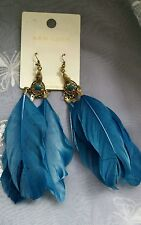 "New Look Pagan Feather Earrings Dangle Drop Pierced  In Airforce Blue Drop 5""."