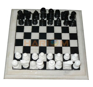 """12"""" Marble Chess Set With Handmade 2"""" King Size Chess Pieces Best Game Gift H010"""