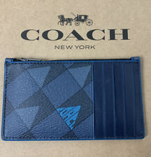 COACH Zip Card Case Checkered Geo Coated Canvas and Leather Navy 1272 New