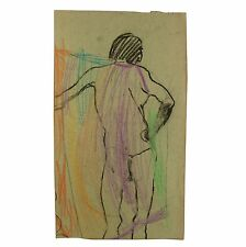Original Abstract Standing Male Nude Thong Colour Life Drawing Stella Rash c1950