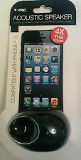 VIBE ACCOUSTIC Speaker iPHONE 5 Amplifies Sound 4X Black no batteries required