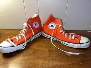 Vintage Chuck Taylor Hi Top Converse, USA White, Orange Men's 11, Gently Used