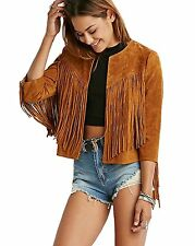 My Wonderful World Womens Collarless Suede Fringe Jacket XX-Large Coffee
