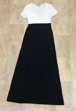 Morgan De Toi Long Party Maxi Dress Black And White Short Sleeve V Neck Size S