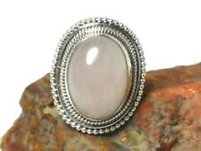Oval  Pink Chalcedony Sterling  Silver  925 Gemstone  RING -  Size: P