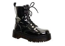 Shiney Chunky Sole Flatform Platform Lace Up Combat Ankle Boots Patent Black