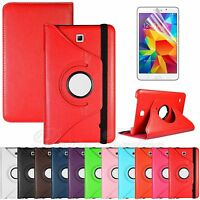 """360 Rotating PU Leather Case Cover Stand For Galaxy Tab 4 8.0"""" T330 + Film"""