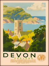 Devon Great Britain England Great Western Railways Vintage Travel Poster Print