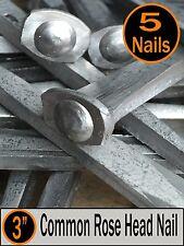 "(5) 3"" - COMMON ROSE HEAD NAIL  - Antique Vintage Rustic Nails - 10d"