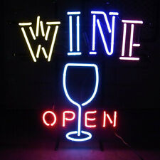 "Wine Glass Open Neon Sign 20""x16"" Light Lamp Beer Bar Pub Decor Artwork Windows"