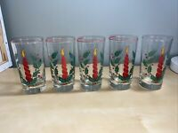 VINTAGE Libbey Holly And Candle CHRISTMAS TUMBLERS/GLASSES LOT OF 5