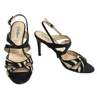 L. K. Bennett Black Leather Zebra Mohair Strappy Heels Size 4 UK