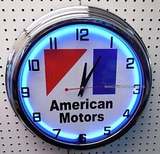 "17"" AMC Logo American Motors Co Sign Single Neon Lighted Clock"