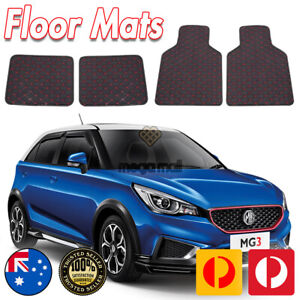 4 PCS Front & Rear Black with Red Diamond Stitching Universal Fit Floor Mats