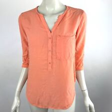 Anthropologie Cloth Stone Orange Popover Tunic Top Pocket 3/4 Sleeve Womens XS