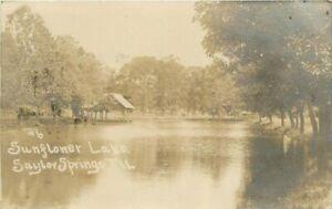 Saylor Springs Illinois Sunflower Lake #6 1907 RPPC Photo Postcard 21-10412