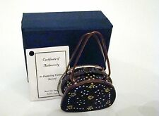 Kelvin Chen Enamel Miniature Hinged Box Purse Black with stars and dots Ep012