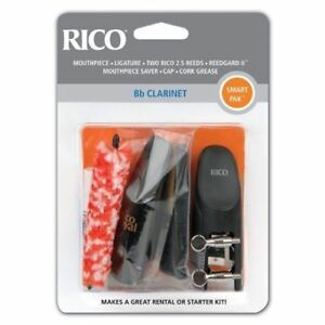 NEW Rico Smart Pak for Bb Clarinet - Mouthpiece, Ligature, Two Rico 2.5 Reeds