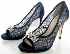DEBUT SIZE 3 36 WOMENS NAVY BLUE LACE SATIN DIAMANTE PEEPTOES COURT SHOES HEEL