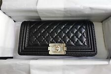 NEW *RARE Authentic CHANEL BOY Classic Quilted Black Leather CC Clutch Gold