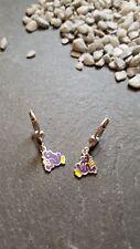 Ohrringe Brisuren 925 Silber Frosch lila gelb Kinderohrringe süss 1,44 g  CP3656