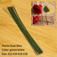 50pcs Green/White Florist Stub Wire Choice of Gauge & 35cm Length Floristry Wire