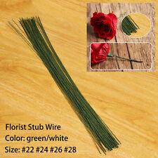 50pcs Green/White Florist Stub Wire Choice of Gauge & 35cm Length Floristry Wire