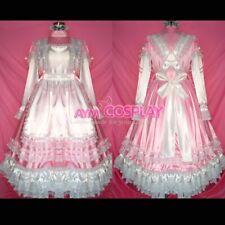 US Size 20- lockable pink satin long sissy maid dress [G327]