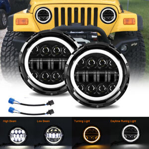"Pair Dot 7"" Inch Round New LED Headlight DRL For Jeep Wrangler JK TJ CJ LJ JL"