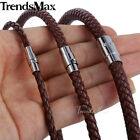 Braided Rope Cord Necklace Brown Unisex Man-made Leather Chocker Jewelry 4/6/8mm